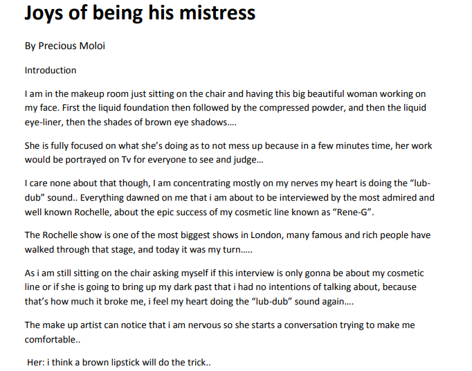 Joys of Being his Mistres